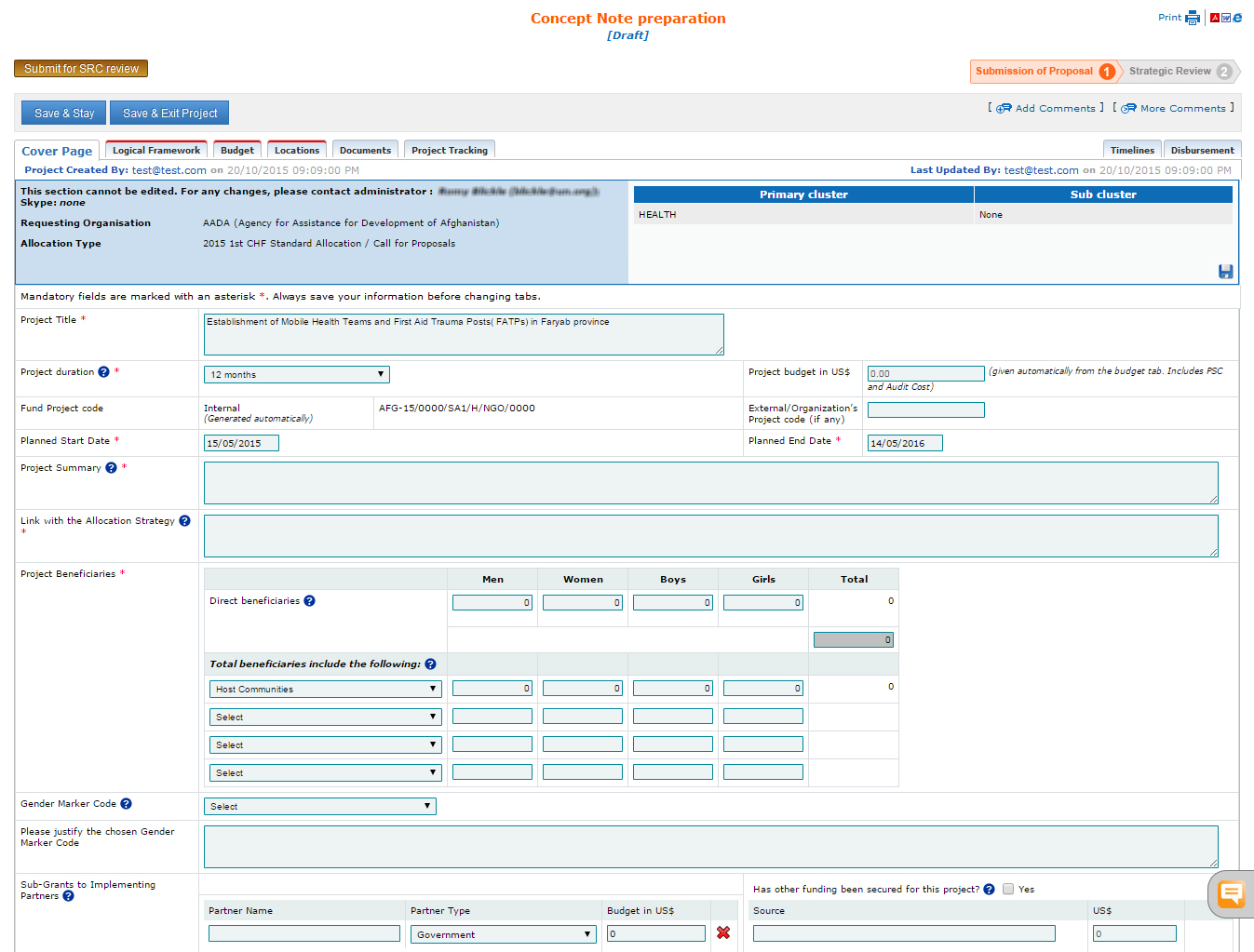 Project Submission Cbpf Grant Management System Gms Home