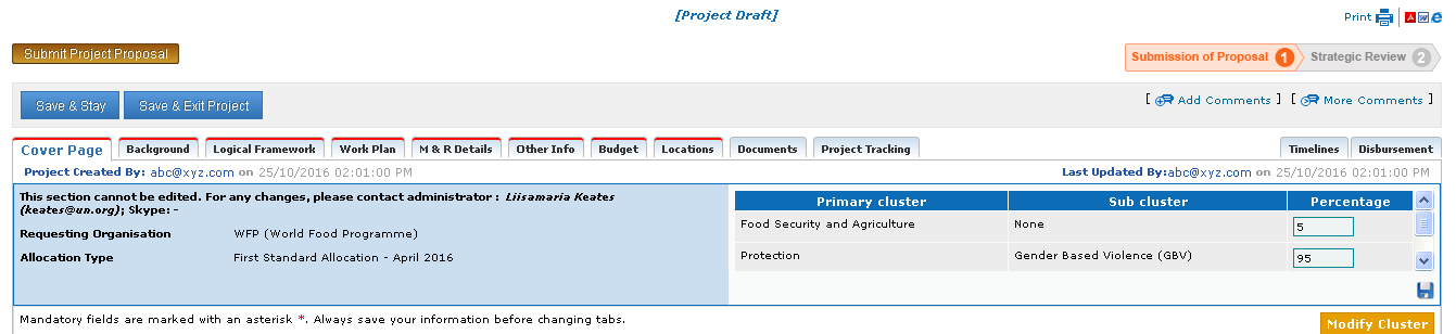 Project Submission | CBPF GRANT MANAGEMENT SYSTEM (GMS) - HOME